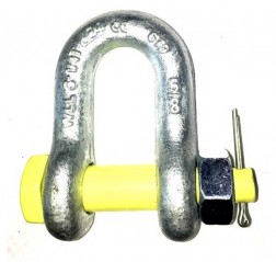 Yellow Pin D Shackle with Safety Bolt