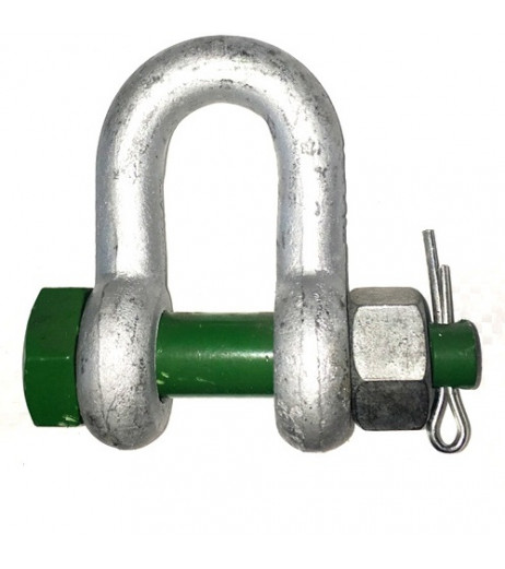 Green Pin D Shackle with Safety Bolt
