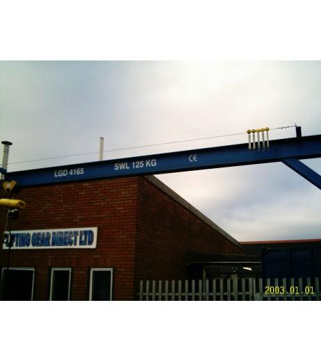 Under braced 125KG Jib Crane with 4MTR Under beam x 3.5MTR Arm