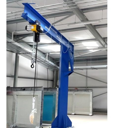 Under braced 500KG Jib Crane with 4MTR Under beam x 4MTR Arm