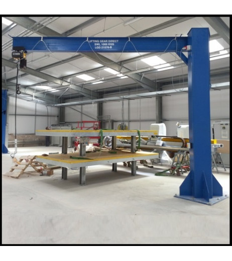 Under braced 250KG Jib Crane with 3MTR Under beam x 3.5MTR Arm