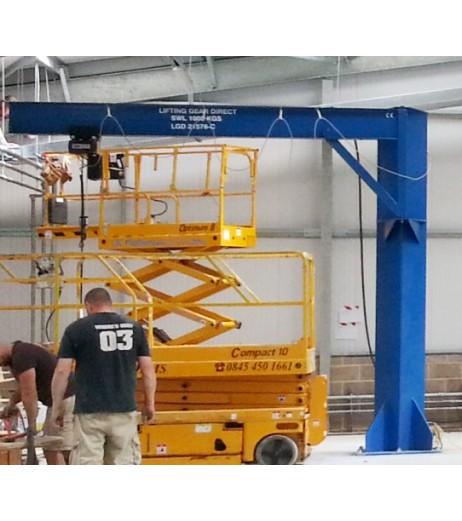 Under braced 250KG Jib Crane with 5MTR Under beam x 5MTR Arm
