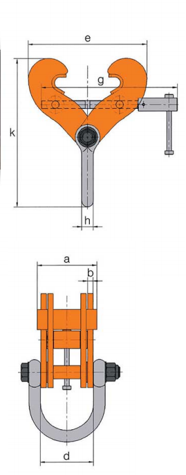 fixed jaw beam clamp dimensions