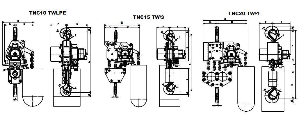 tne 10twlpe air hoist dimensions