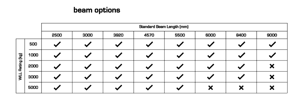 custom aluminium lifting gantry beam sizes