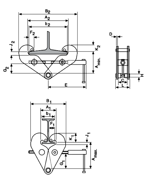 Camlok YC10 Beam Clamp dimensions