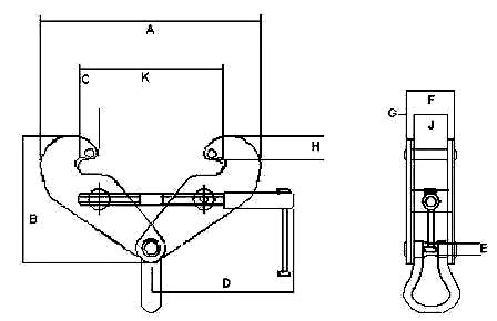 Camlok Sc92 Beam Clamp  dimensions
