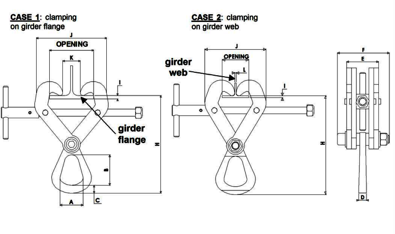 Topal GP Beam Clamp dimensions