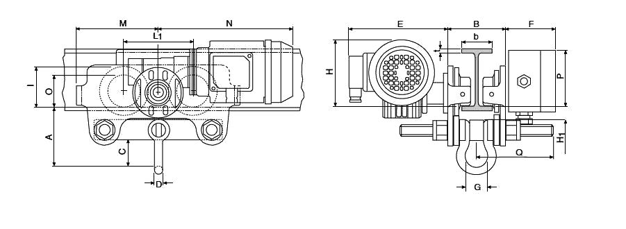 Yale VTE Electric Beam Trolley dimensions