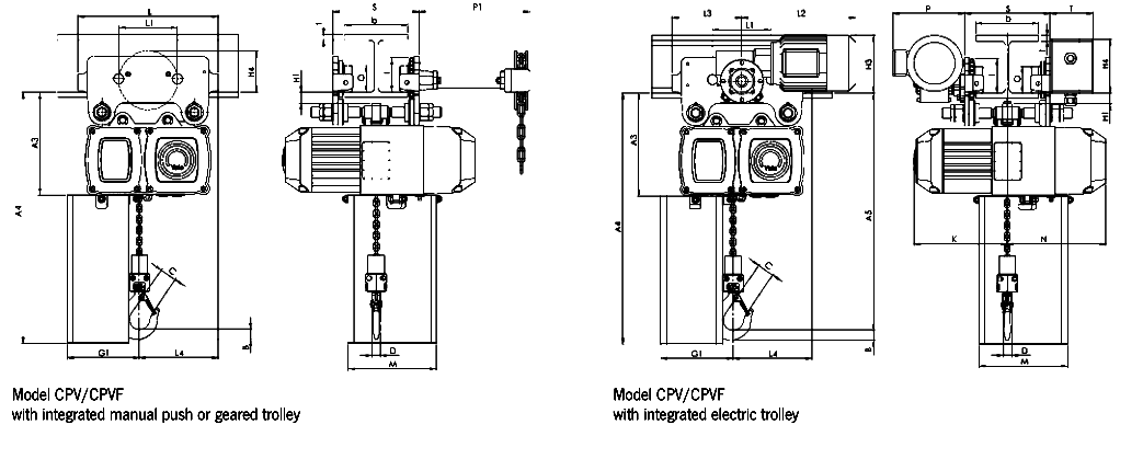 Yale CPE/F Electric Hoist dimensions