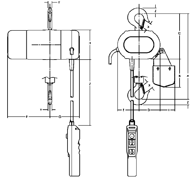Yale CPS Electric Hoist  dimensions
