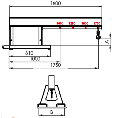 Forklift Jib Arm - Contact FMJ dimensions