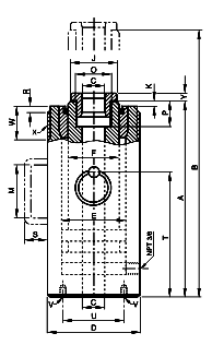 Yale YCS Single acting Hollow Cylinder dimensions