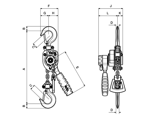 Yale Handy Lever Hoist  dimensions