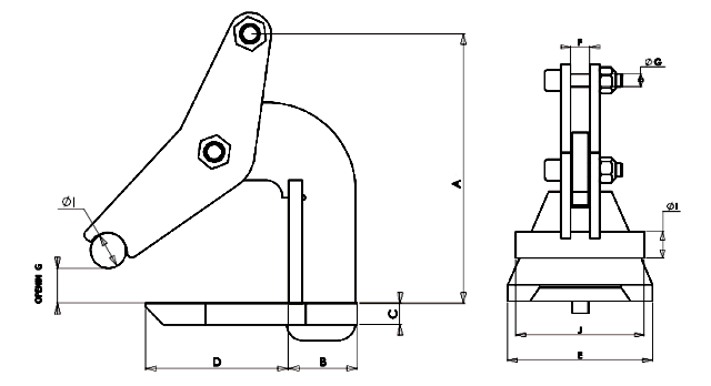 Topal TLH Horizontal Plate Clamp dimensions