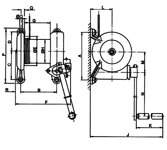 cast iron winch dimensions
