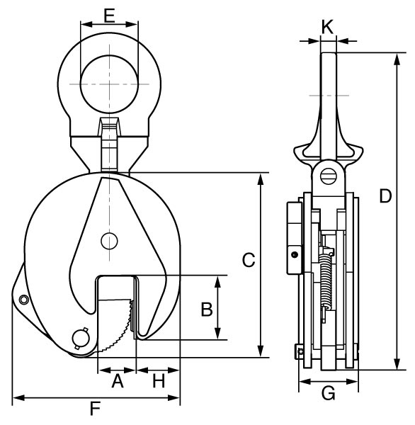 gt vertical plate clamp dimensions