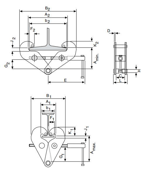 yc beam clamp dimensions